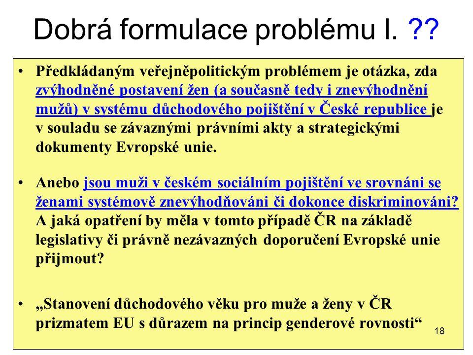 Dobrá formulace problému I. ?.