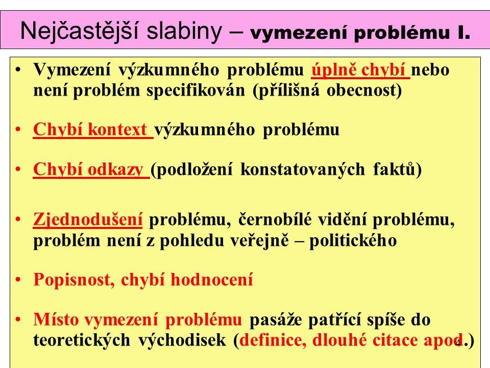 Nejčastější slabiny – vymezení problému I.