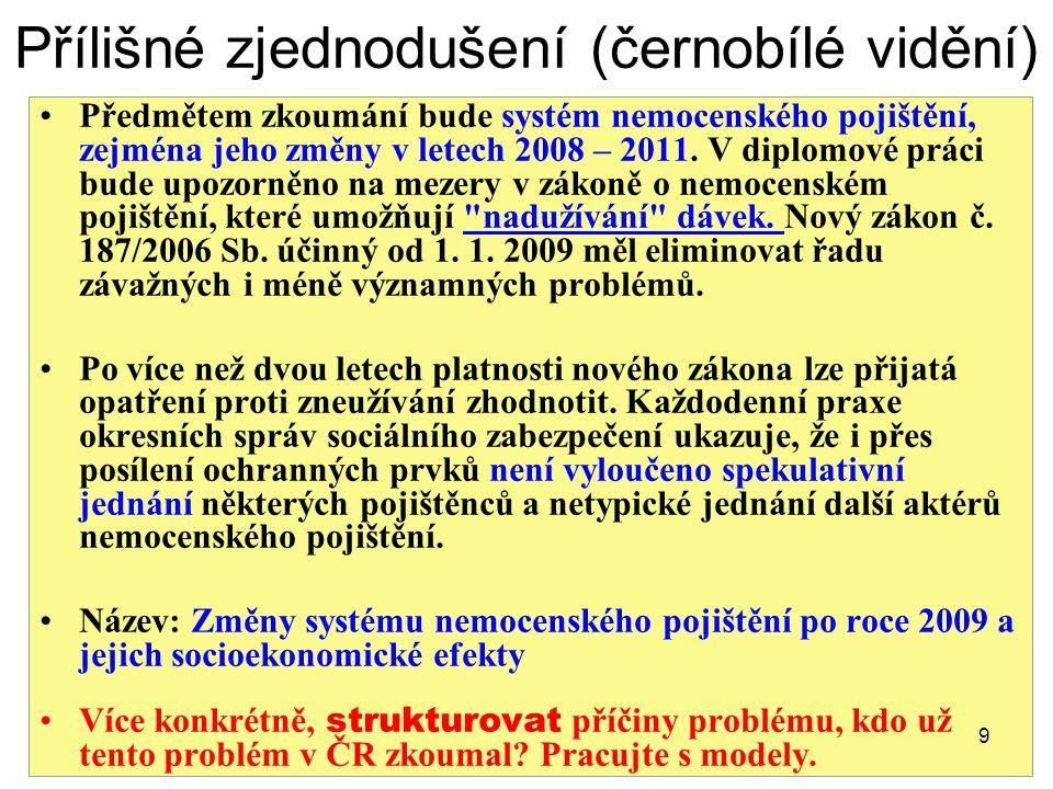 Přílišné zjednodušení (černobílé vidění) Předmětem zkoumání bude systém nemocenského pojištění, zejména jeho změny v letech 2008 – 2011.
