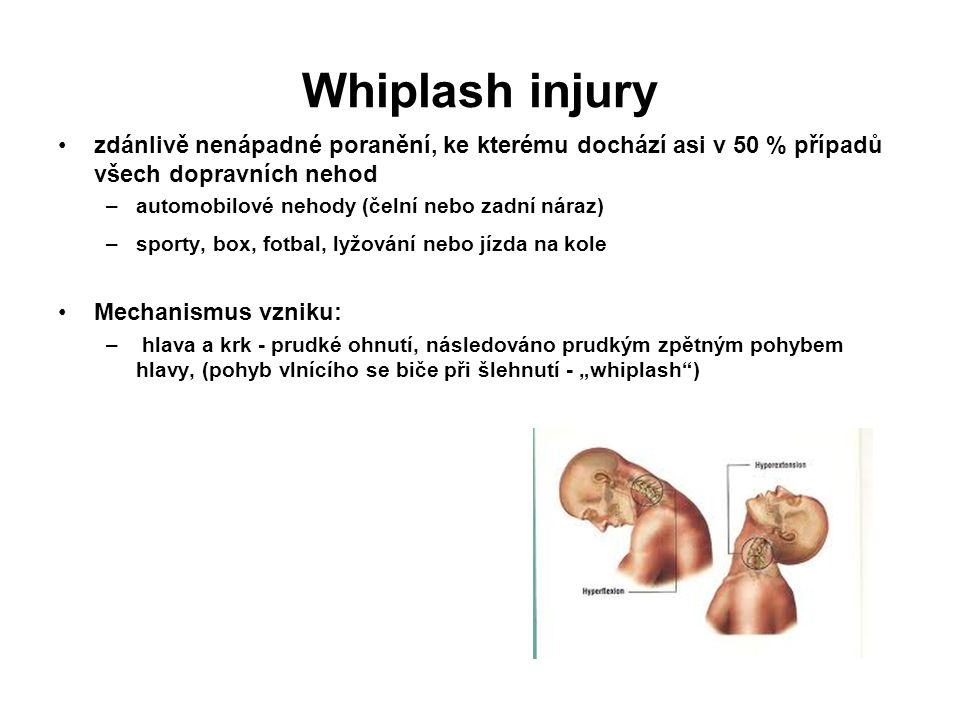 Whiplash injury zdánlivě nenápadné poranění, ke kterému dochází asi v 50 % případů všech dopravních nehod –automobilové nehody (čelní nebo zadní náraz