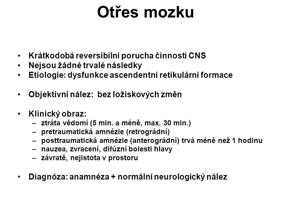 Otřes mozku Krátkodobá reversibilní porucha činnosti CNS Nejsou žádné trvalé následky Etiologie: dysfunkce ascendentní retikulární formace Objektivní