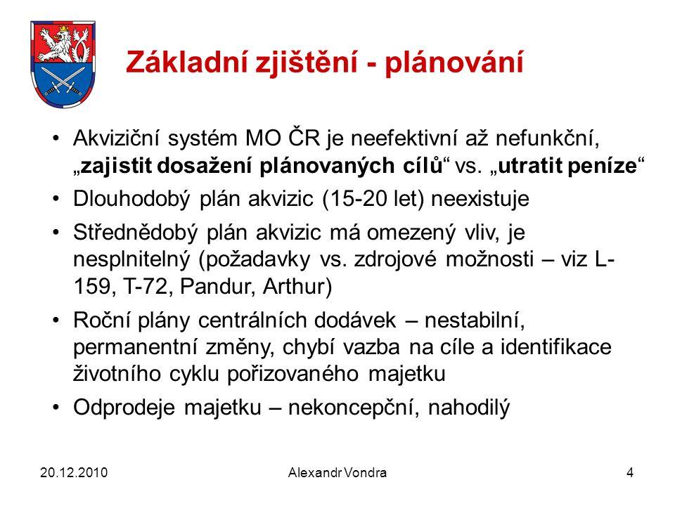"""Akviziční systém MO ČR je neefektivní až nefunkční, """"zajistit dosažení plánovaných cílů vs."""