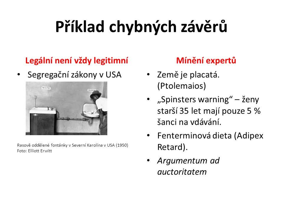 """Příklad chybných závěrů Legální není vždy legitimníMínění expertů Země je placatá. (Ptolemaios) """"Spinsters warning"""" – ženy starší 35 let mají pouze 5"""