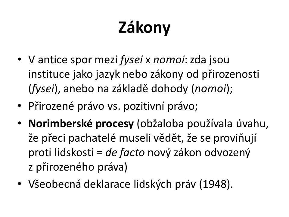Zákony V antice spor mezi fysei x nomoi: zda jsou instituce jako jazyk nebo zákony od přirozenosti (fysei), anebo na základě dohody (nomoi); Přirozené