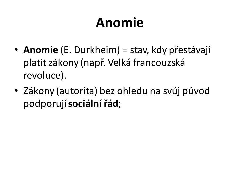 Anomie Anomie (E.Durkheim) = stav, kdy přestávají platit zákony (např.