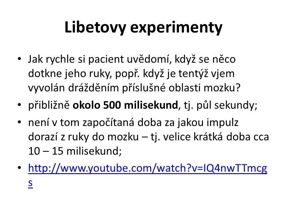 Libetovy experimenty Jak rychle si pacient uvědomí, když se něco dotkne jeho ruky, popř. když je tentýž vjem vyvolán drážděním příslušné oblasti mozku