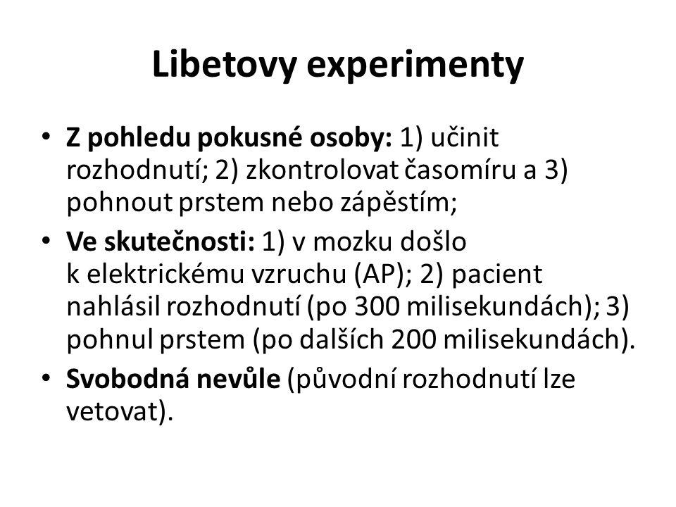 Libetovy experimenty Z pohledu pokusné osoby: 1) učinit rozhodnutí; 2) zkontrolovat časomíru a 3) pohnout prstem nebo zápěstím; Ve skutečnosti: 1) v m