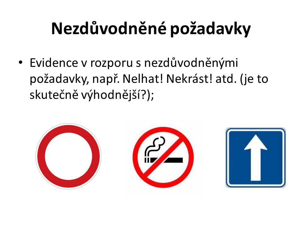 Nezdůvodněné požadavky Evidence v rozporu s nezdůvodněnými požadavky, např. Nelhat! Nekrást! atd. (je to skutečně výhodnější?);