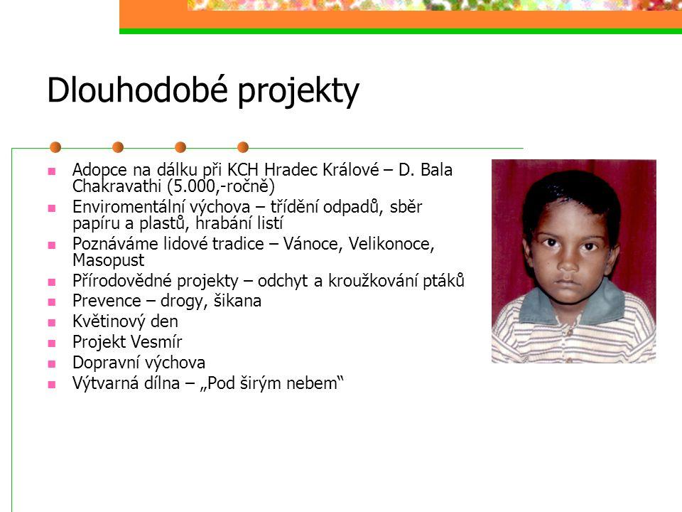 Dlouhodobé projekty Adopce na dálku při KCH Hradec Králové – D. Bala Chakravathi (5.000,-ročně) Enviromentální výchova – třídění odpadů, sběr papíru a