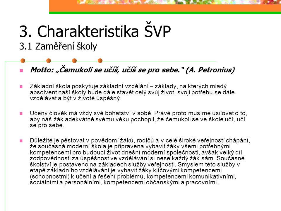 """3. Charakteristika ŠVP 3.1 Zaměření školy Motto: """"Čemukoli se učíš, učíš se pro sebe."""" (A. Petronius) Základní škola poskytuje základní vzdělání – zák"""