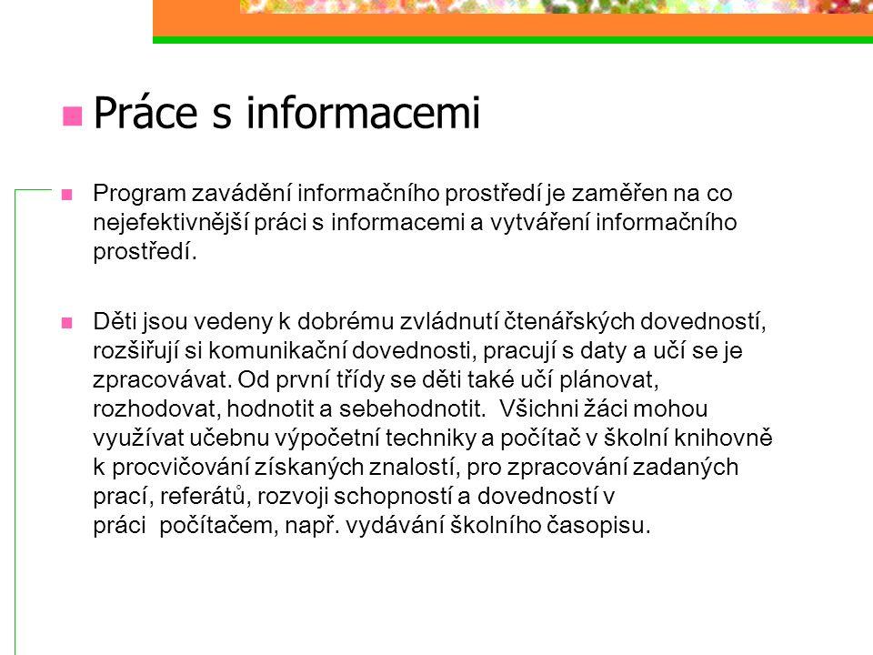 Práce s informacemi Program zavádění informačního prostředí je zaměřen na co nejefektivnější práci s informacemi a vytváření informačního prostředí. D