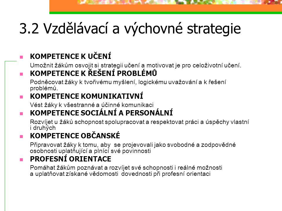 3.2 Vzdělávací a výchovné strategie KOMPETENCE K UČENÍ Umožnit žákům osvojit si strategii učení a motivovat je pro celoživotní učení. KOMPETENCE K ŘEŠ