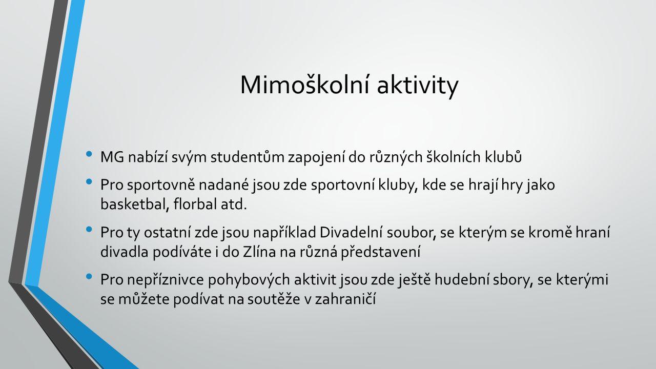 Mimoškolní aktivity MG nabízí svým studentům zapojení do různých školních klubů Pro sportovně nadané jsou zde sportovní kluby, kde se hrají hry jako b