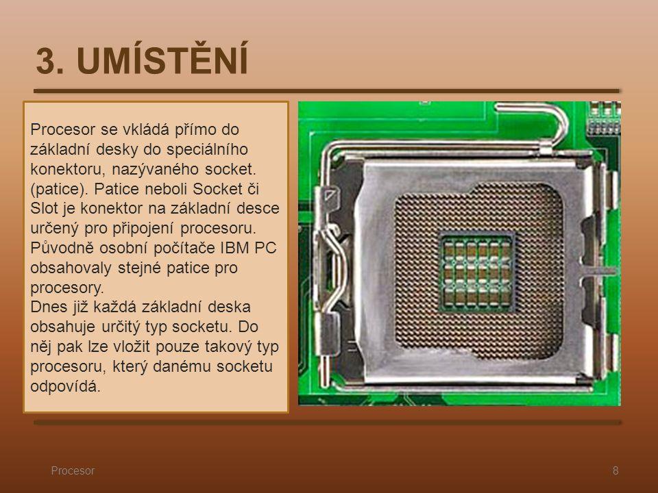 Procesor se vkládá přímo do základní desky do speciálního konektoru, nazývaného socket.