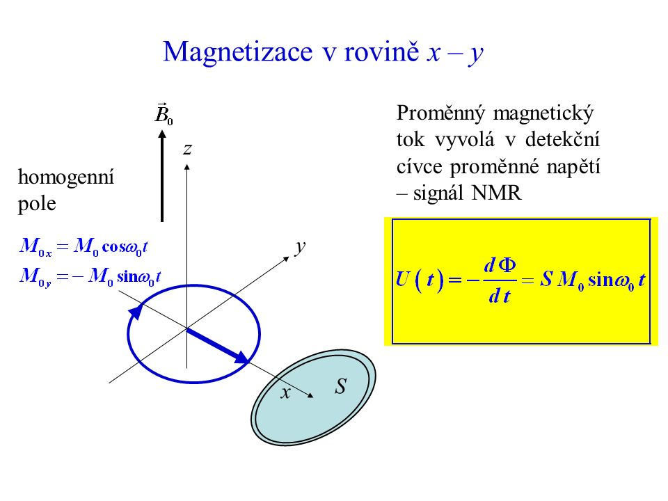 Lokální nehomogenity statického pole x z y Lokální nehomogenity magnetického pole způsobují, že se precese děje s mírně odlišnou frekvencí.