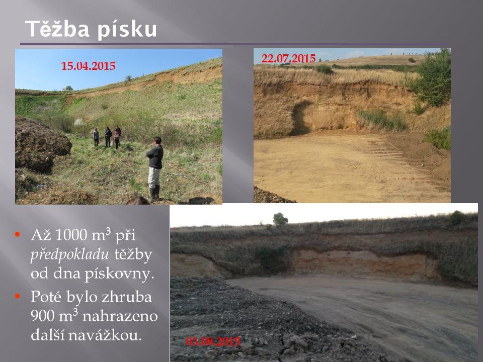 T ěž ba písku Až 1000 m 3 při předpokladu těžby od dna pískovny. Poté bylo zhruba 900 m 3 nahrazeno další navážkou. 15.04.2015 22.07.2015 03.08.2015