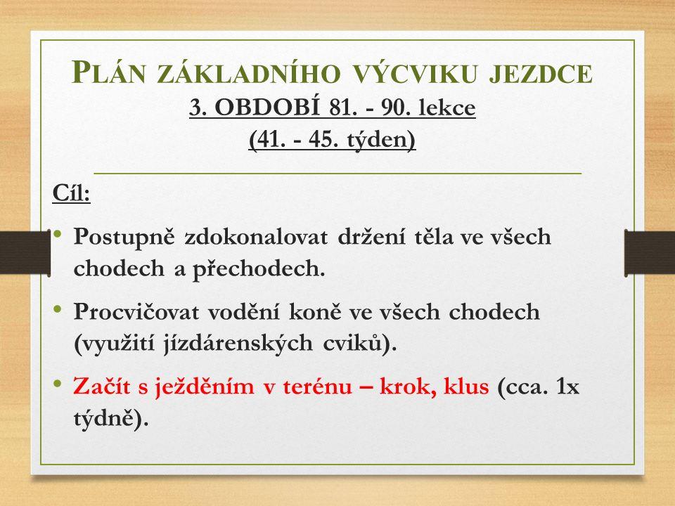 P LÁN ZÁKLADNÍHO VÝCVIKU JEZDCE 3. OBDOBÍ 81. - 90. lekce (41. - 45. týden) Cíl: Postupně zdokonalovat držení těla ve všech chodech a přechodech. Proc