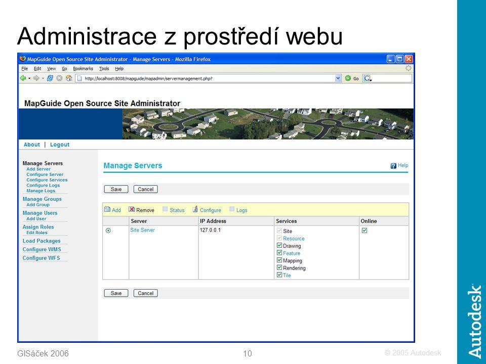© 2005 Autodesk 10 GISáček 2006 Administrace z prostředí webu
