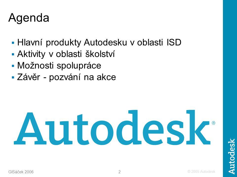 © 2005 Autodesk 2 GISáček 2006 Agenda  Hlavní produkty Autodesku v oblasti ISD  Aktivity v oblasti školství  Možnosti spolupráce  Závěr - pozvání na akce