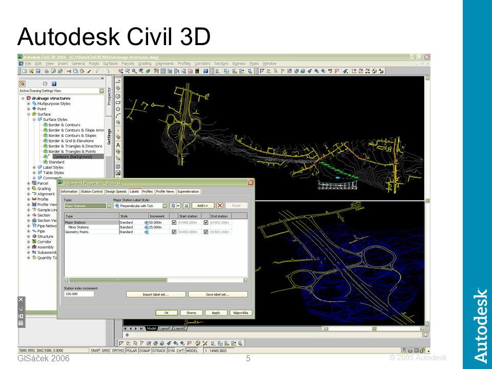 © 2005 Autodesk 5 GISáček 2006 Autodesk Civil 3D