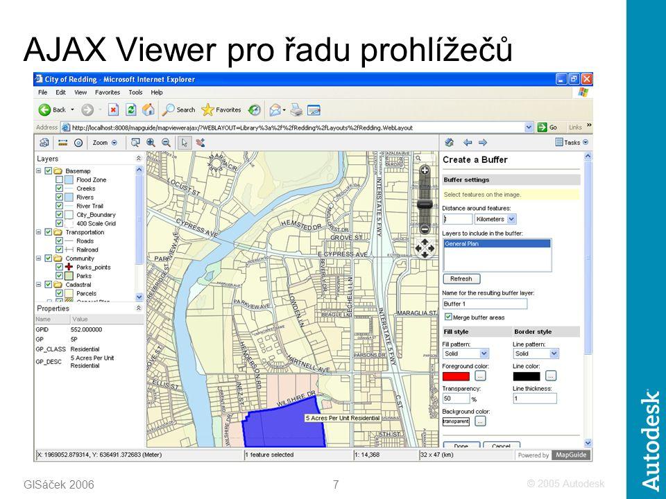 © 2005 Autodesk 7 GISáček 2006 AJAX Viewer pro řadu prohlížečů