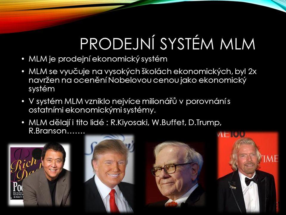 PRODEJNÍ SYSTÉM MLM MLM je prodejní ekonomický systém MLM se vyučuje na vysokých školách ekonomických, byl 2x navržen na ocenění Nobelovou cenou jako ekonomický systém V systém MLM vzniklo nejvíce milionářů v porovnání s ostatními ekonomickými systémy.