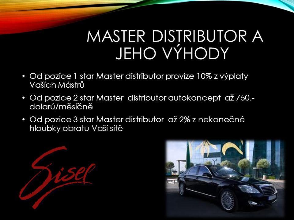 MASTER DISTRIBUTOR A JEHO VÝHODY Od pozice 1 star Master distributor provize 10% z výplaty Vaších Mástrů Od pozice 2 star Master distributor autokoncept až 750.- dolarů/měsíčně Od pozice 3 star Master distributor až 2% z nekonečné hloubky obratu Vaší sítě