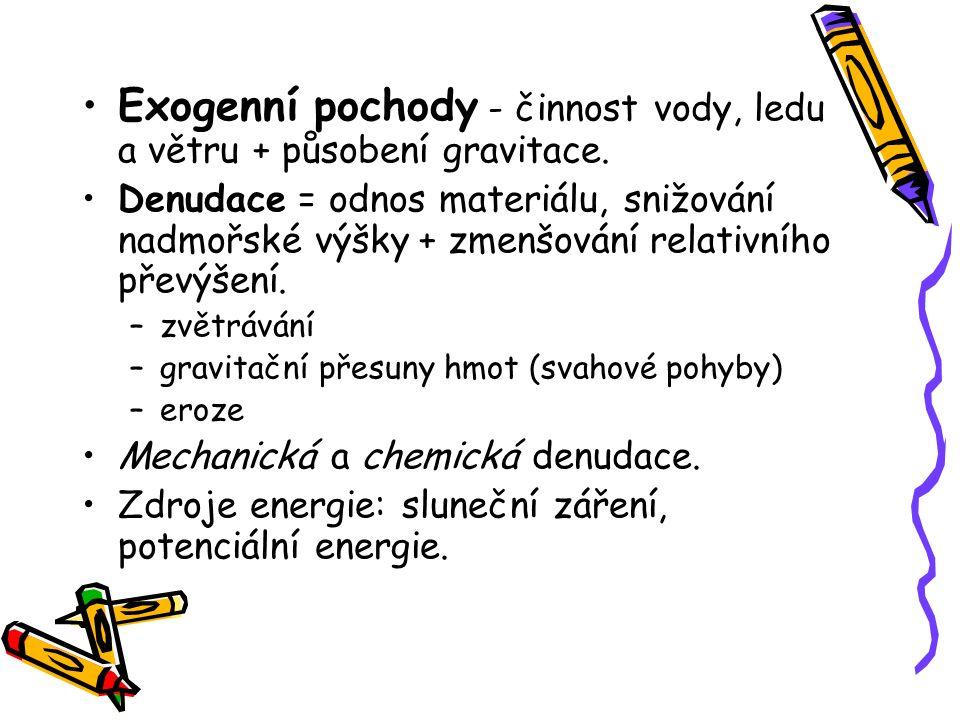 Exogenní pochody - činnost vody, ledu a větru + působení gravitace. Denudace = odnos materiálu, snižování nadmořské výšky + zmenšování relativního pře