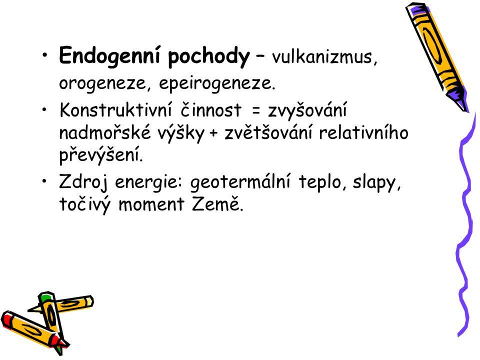Endogenní pochody – vulkanizmus, orogeneze, epeirogeneze. Konstruktivní činnost = zvyšování nadmořské výšky + zvětšování relativního převýšení. Zdroj