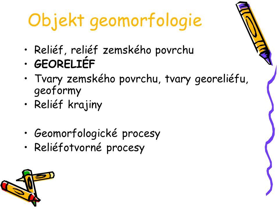 Objekt geomorfologie Reliéf, reliéf zemského povrchu GEORELIÉF Tvary zemského povrchu, tvary georeliéfu, geoformy Reliéf krajiny Geomorfologické proce