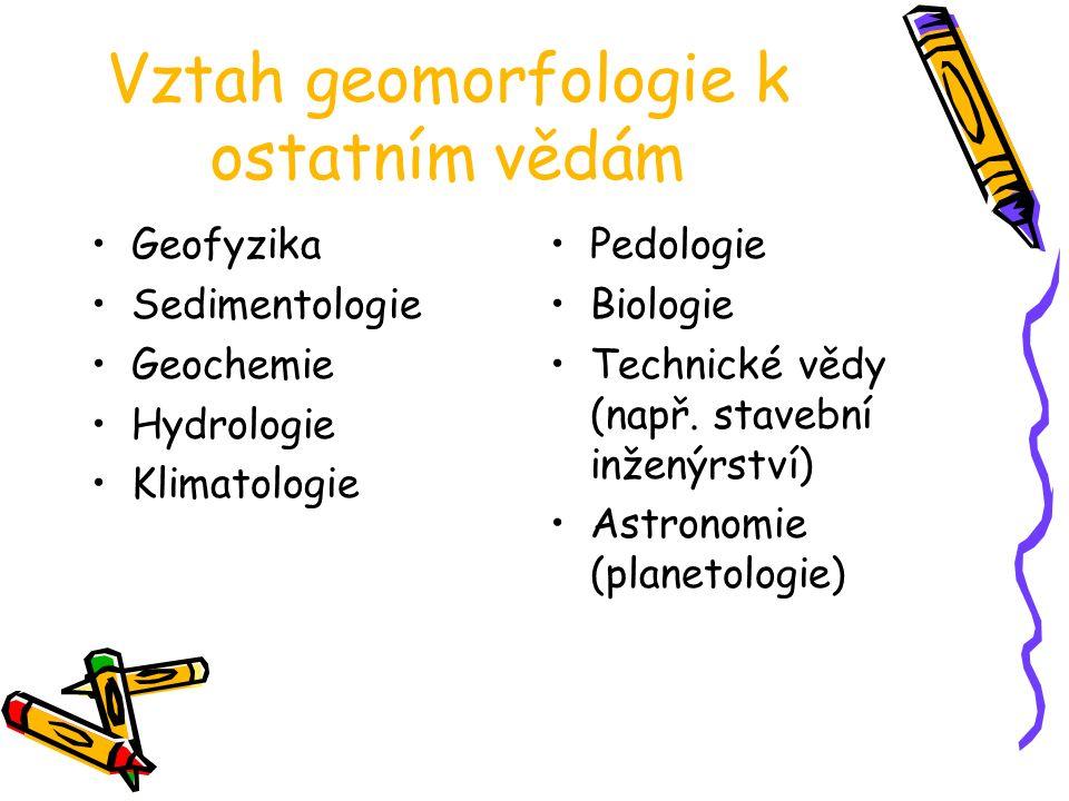 Vztah geomorfologie k ostatním vědám Geofyzika Sedimentologie Geochemie Hydrologie Klimatologie Pedologie Biologie Technické vědy (např. stavební inže
