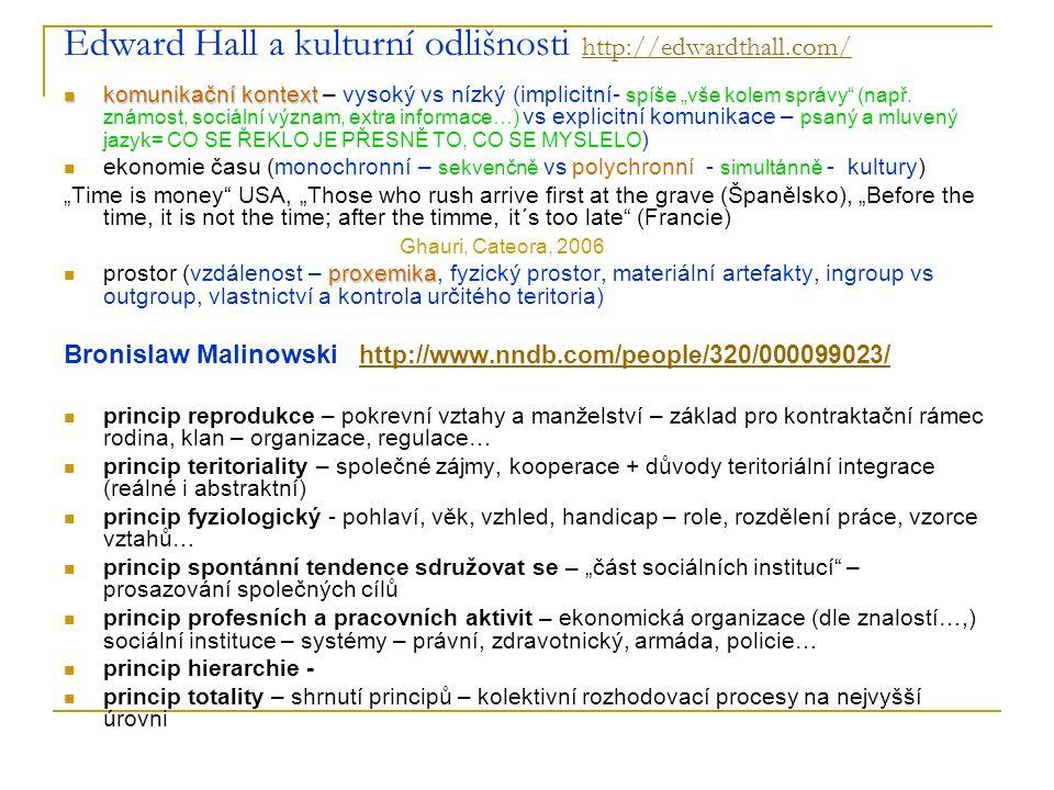 Edward Hall a kulturní odlišnosti http://edwardthall.com/ http://edwardthall.com/ komunikační kontext komunikační kontext – vysoký vs nízký (implicitn