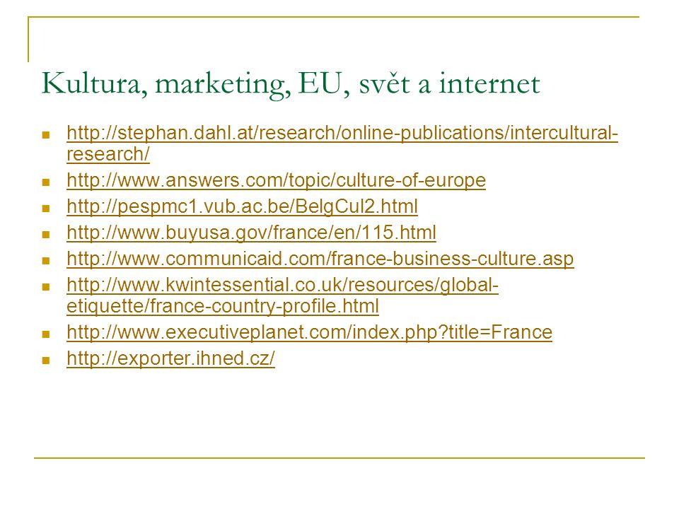 Kultura, marketing, EU, svět a internet http://stephan.dahl.at/research/online-publications/intercultural- research/ http://stephan.dahl.at/research/o