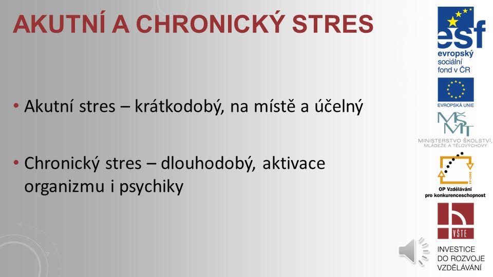 EUSTRES Dávka stresu působící motivačně, příjemně DISTRES Nepříjemný, demotivující, demobilizující