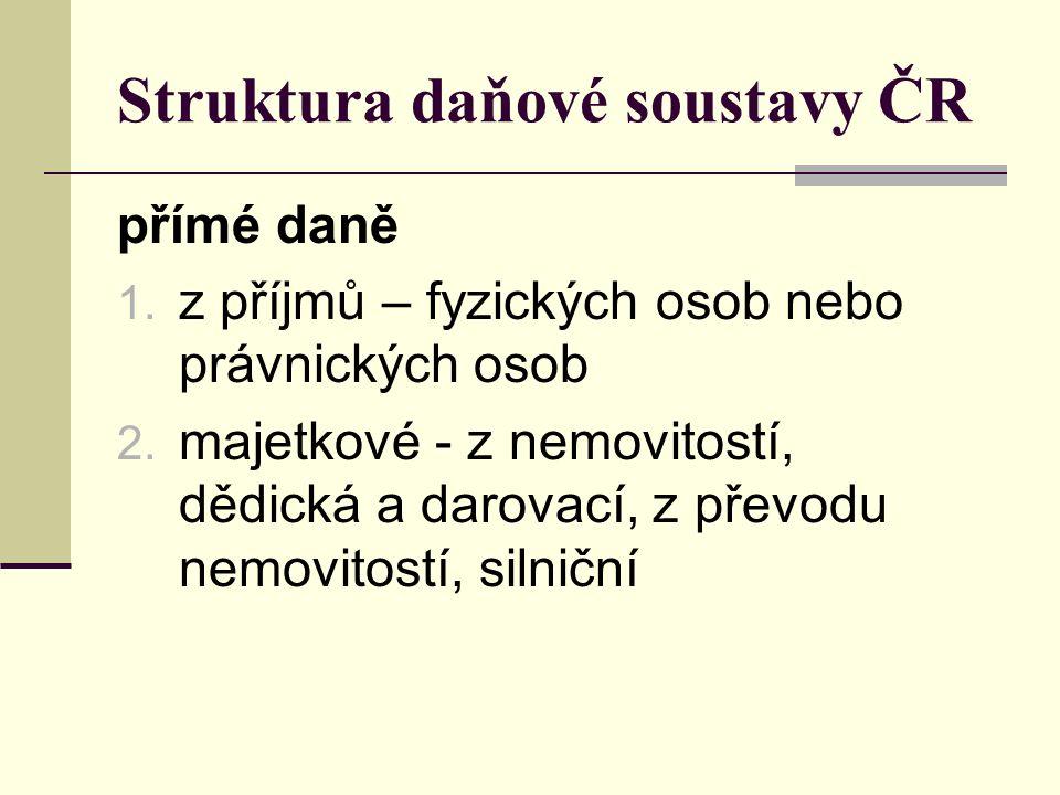 Struktura daňové soustavy ČR přímé daně 1. z příjmů – fyzických osob nebo právnických osob 2. majetkové - z nemovitostí, dědická a darovací, z převodu