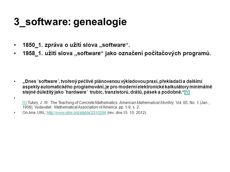 """3_software: genealogie 1850_1. zpráva o užití slova """"software"""". 1958_1. užití slova """"software"""" jako označení počítačových programů. """"Dnes ´software´,"""