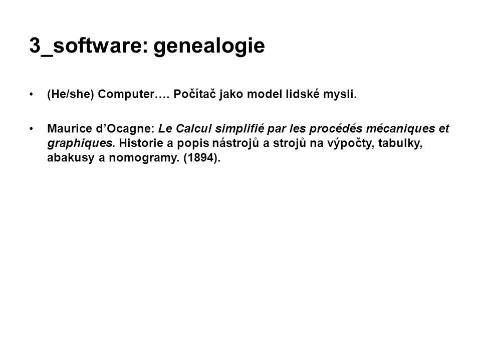 3_software: genealogie (He/she) Computer…. Počítač jako model lidské mysli. Maurice d'Ocagne: Le Calcul simplifié par les procédés mécaniques et graph
