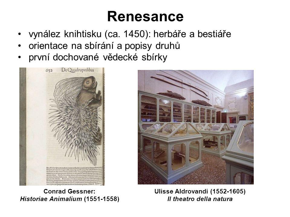 Renesance vynález knihtisku (ca. 1450): herbáře a bestiáře orientace na sbírání a popisy druhů první dochované vědecké sbírky Conrad Gessner: Historia