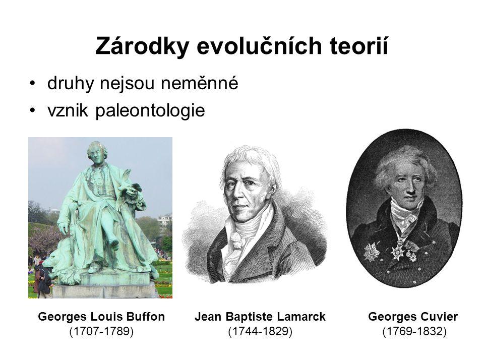 Zárodky evolučních teorií druhy nejsou neměnné vznik paleontologie Georges Louis Buffon (1707-1789) Jean Baptiste Lamarck (1744-1829) Georges Cuvier (
