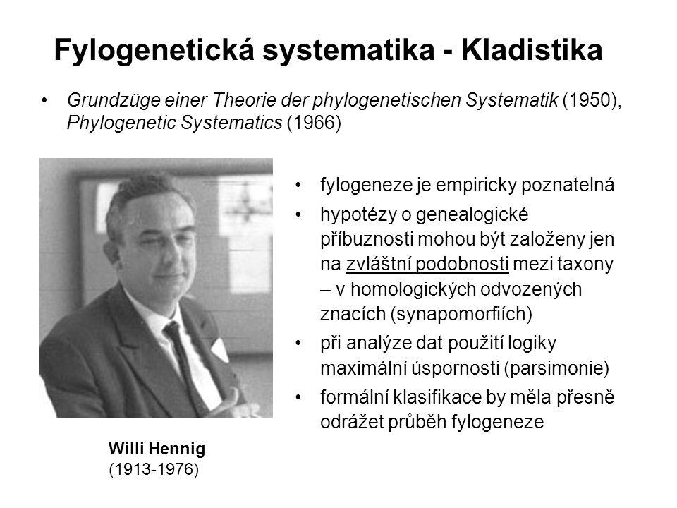 Fylogenetická systematika - Kladistika Grundzüge einer Theorie der phylogenetischen Systematik (1950), Phylogenetic Systematics (1966) Willi Hennig (1