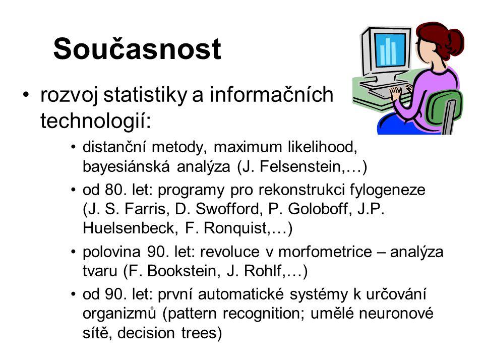 Současnost rozvoj statistiky a informačních technologií: distanční metody, maximum likelihood, bayesiánská analýza (J. Felsenstein,…) od 80. let: prog