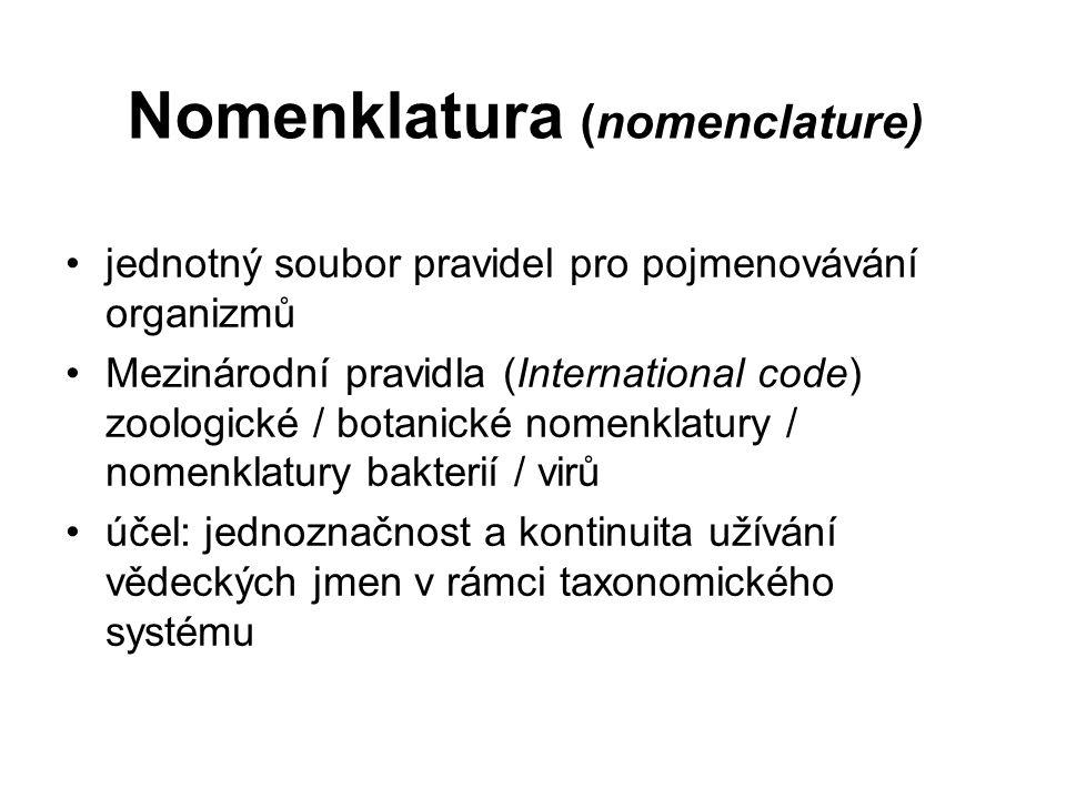 Nomenklatura (nomenclature) jednotný soubor pravidel pro pojmenovávání organizmů Mezinárodní pravidla (International code) zoologické / botanické nome