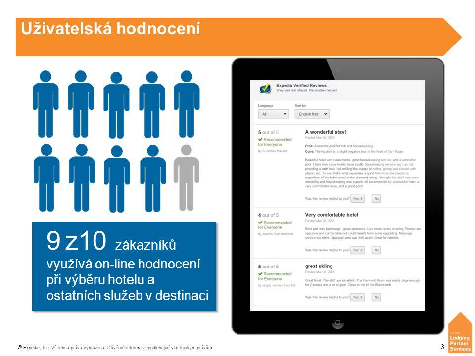 © Expedia, Inc. Všechna práva vyhrazena. Důvěrné informace podléhající vlastnickým právům. 3 Uživatelská hodnocení 9 z10 zákazníků využívá on-line hod