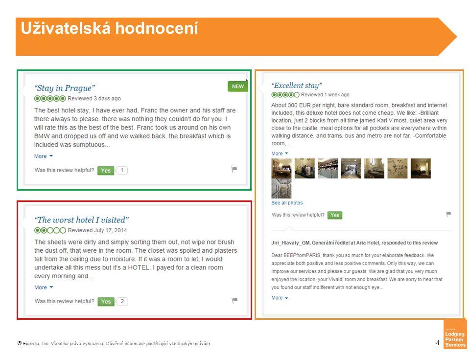 © Expedia, Inc. Všechna práva vyhrazena. Důvěrné informace podléhající vlastnickým právům. 4 Uživatelská hodnocení
