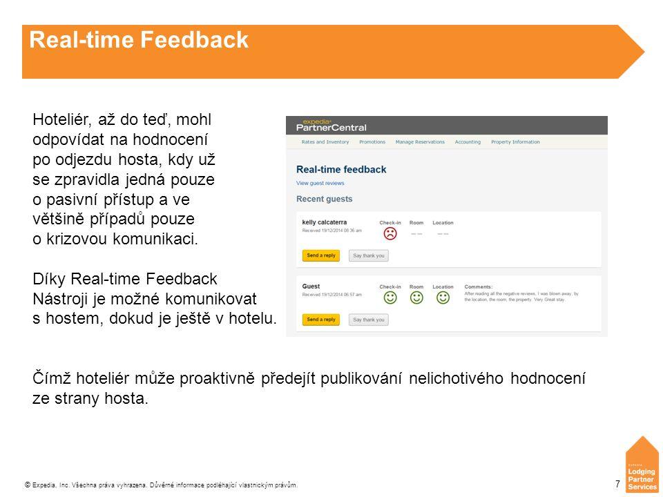 © Expedia, Inc. Všechna práva vyhrazena. Důvěrné informace podléhající vlastnickým právům. 7 Real-time Feedback Hoteliér, až do teď, mohl odpovídat na