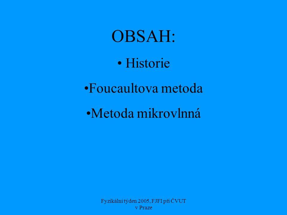 Fyzikální týden 2005, FJFI při ČVUT v Praze OBSAH: Historie Foucaultova metoda Metoda mikrovlnná