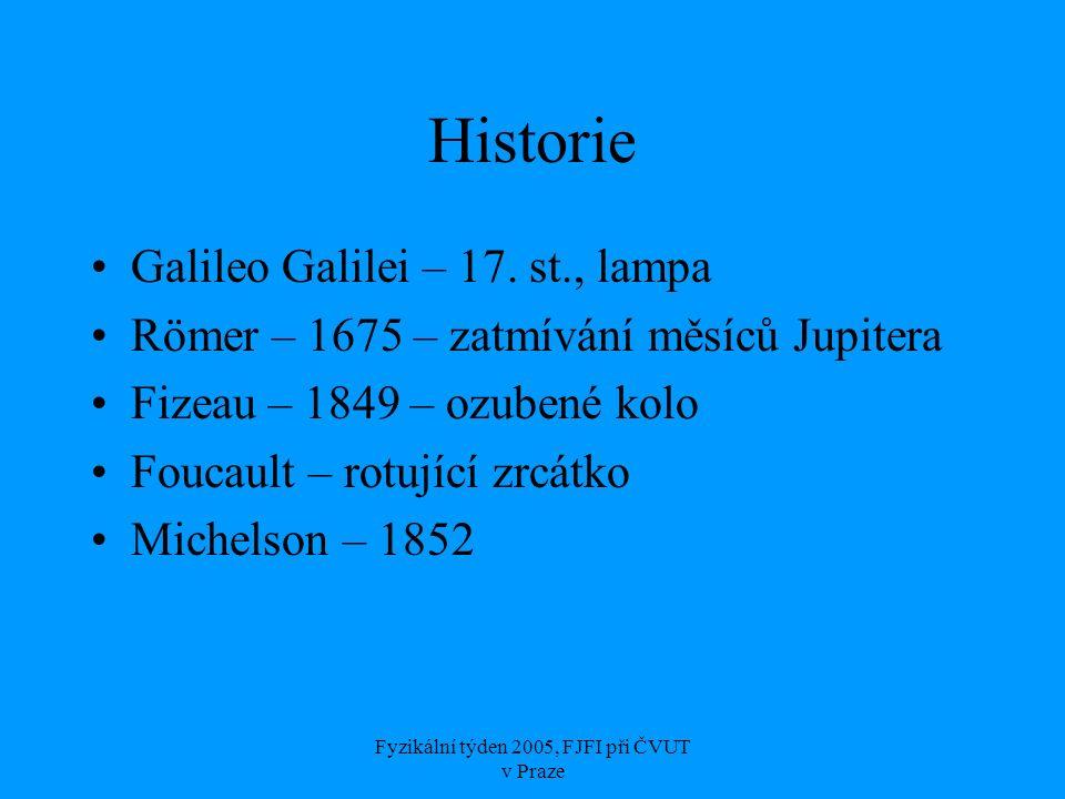 Fyzikální týden 2005, FJFI při ČVUT v Praze Historie Galileo Galilei – 17. st., lampa Römer – 1675 – zatmívání měsíců Jupitera Fizeau – 1849 – ozubené