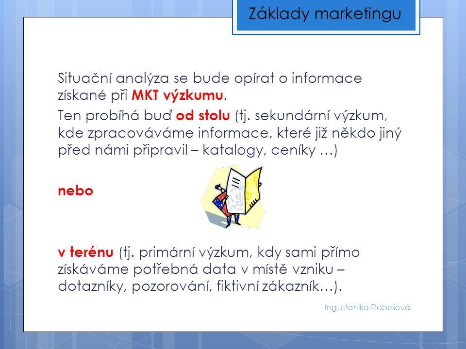 Ing. Monika Dobešová Situační analýza se bude opírat o informace získané při MKT výzkumu. Ten probíhá buď od stolu (tj. sekundární výzkum, kde zpracov
