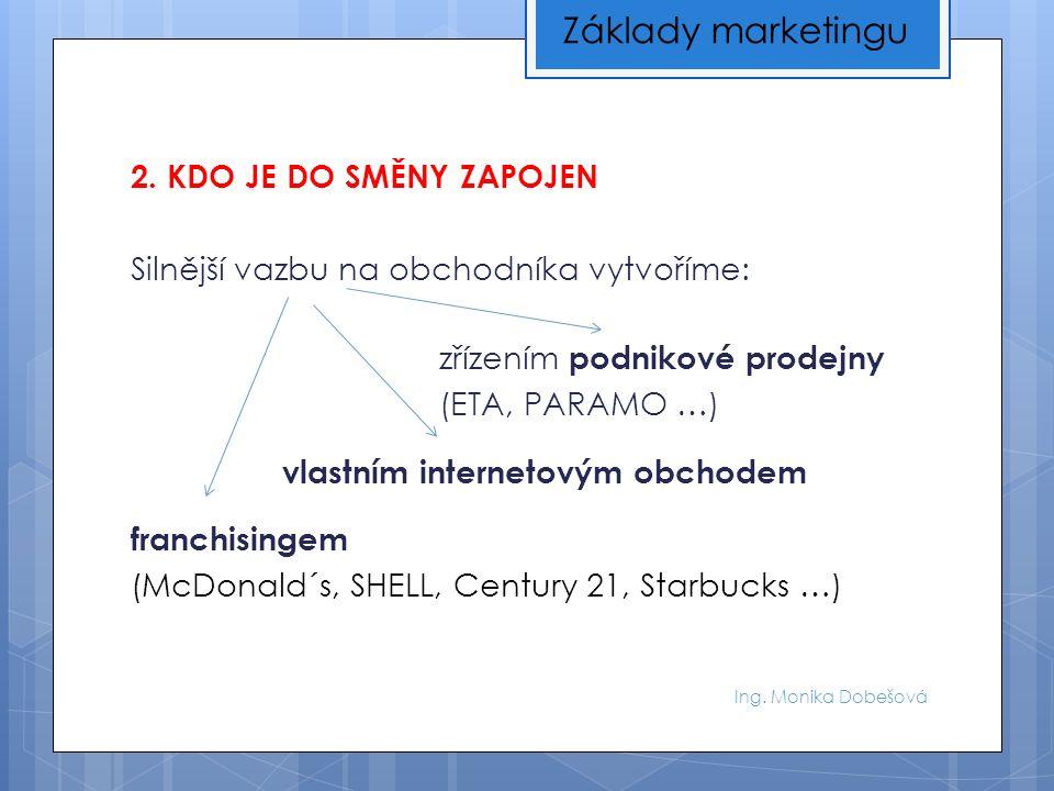 Ing. Monika Dobešová 2. KDO JE DO SMĚNY ZAPOJEN Silnější vazbu na obchodníka vytvoříme: zřízením podnikové prodejny (ETA, PARAMO …) vlastním interneto