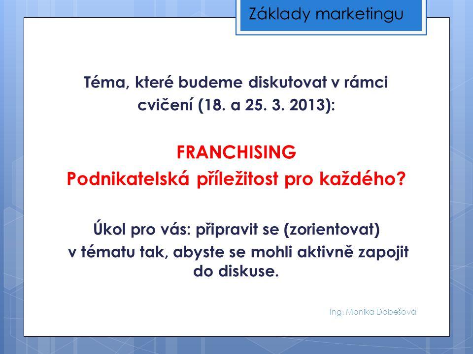 Ing. Monika Dobešová Téma, které budeme diskutovat v rámci cvičení (18. a 25. 3. 2013): FRANCHISING Podnikatelská příležitost pro každého? Úkol pro vá